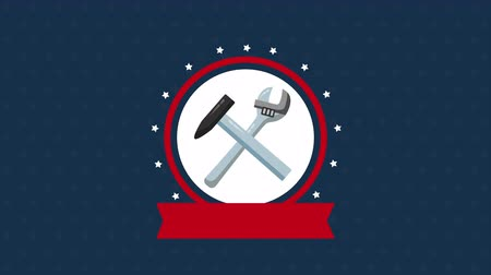 impressão digital : usa labor day celebration with hammer and wrench ,4k video animation