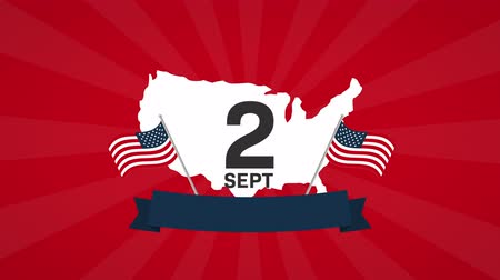 dag van de arbeid : usa labor day celebration met kaart, 4k video-animatie Stockvideo