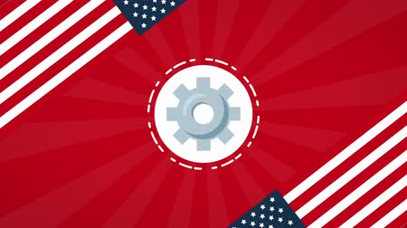 impressão digital : usa labor day circular frame with tools ,4k video animation Stock Footage