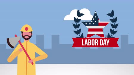 labour : usa labor day celebration with firefighter character ,4k video animation