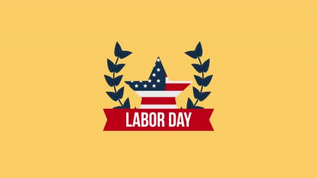 impressão digital : usa labor day celebration with star and police ,4k video animation