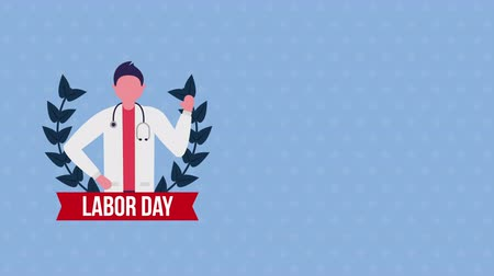 impressão digital : usa labor day celebration with doctor character ,4k video animation