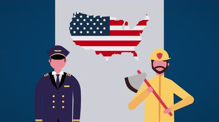 police sign : usa labor day celebration with workers characters ,4k video animation
