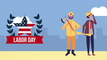 dag van de arbeid : usa labor day celebration met arbeiderspersonages, 4k videoanimatie