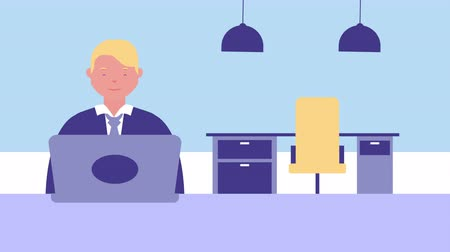 awatar : businessman using laptop in office avatar character , 4k video animation