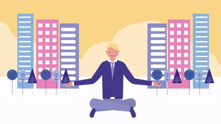 funcionários : businessman in lotus position on the city avatar character , 4k video animation