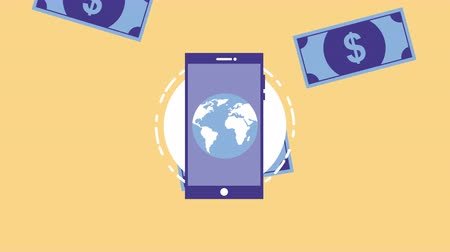 dollars : smartphone device with money and world planet ,4k video animation Stock Footage
