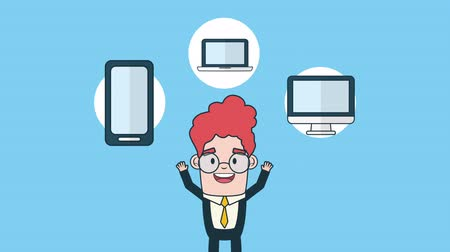 avatarı : businessman with electronics devices avatar character , 4k video animation Stok Video
