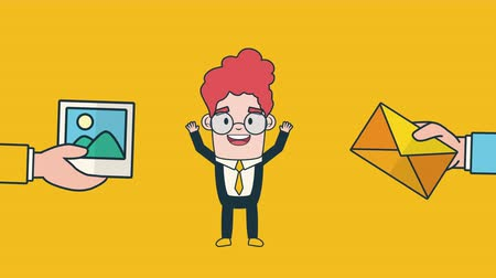 poczta : businessman with envelope email avatar character , 4k video animation Wideo