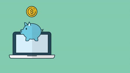 piggy bank : piggy with money and laptop ecommerce ,4k video animation