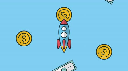 preziosi : bills and coins dollars rain with rocket economy animation ,4k video animation