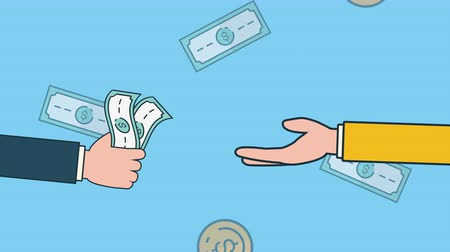 pénzt keres : bills and coins dollars with hands economy animation ,4k video animation