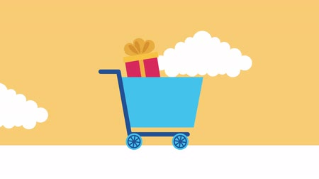 add to cart : shopping cart with gifts commercial animation ,4k video animation Stock Footage