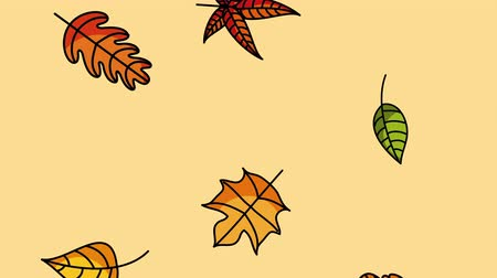 impressão digital : hello autumn season with leaf rain ,4k video animation Stock Footage