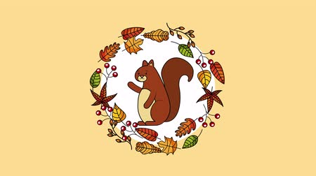mascot : hello autumn season with chipmunk and leafs crown ,4k video animation