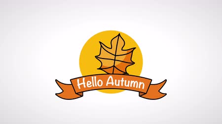 impressão digital : hello autumn season with leaf frame ,4k video animation Stock Footage