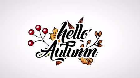 otisk : hello autumn season with calligraphy and leafs ,4k video animation Dostupné videozáznamy