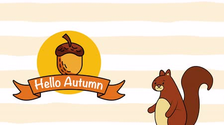 impressão digital : hello autumn season with chipmunk and nut ,4k video animation