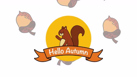 レタリング : hello autumn season with chipmunk and nuts, 4k video animation