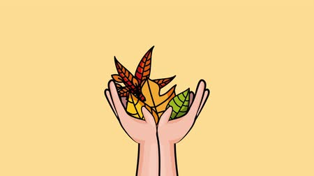 impressão digital : hello autumn season with hands lifting leafs ,4k video animation Stock Footage