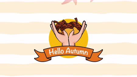 impressão digital : hello autumn season with hands lifting seeds ,4k video animation