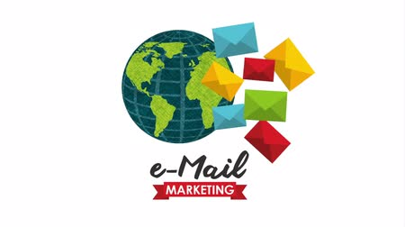 уведомление : email marketing with planet earth and envelopes , hd video animation