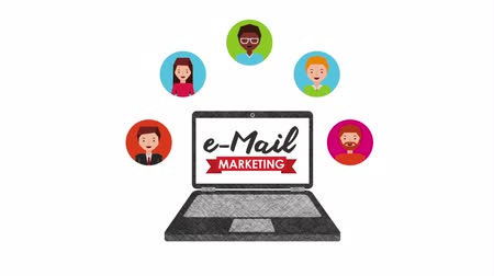 mailbox : email social media marketing with laptop , hd video animation Stock Footage