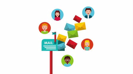 уведомление : email social media marketing with mailbox , hd video animation