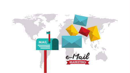 sturen : e-mail social media marketing met mailbox, hd video-animatie Stockvideo