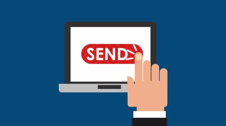 dienstverlening : e-mail social media marketing met laptop, hd video-animatie Stockvideo