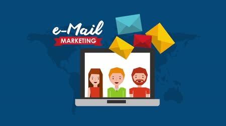 continent : email social media marketing with laptop , hd video animation Stock Footage