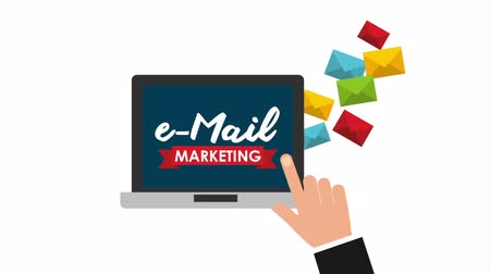 mailbox : email social media marketing with laptop, hd video animation
