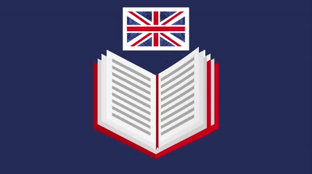 english class : book with british flag learn english , hd video animation Stock Footage