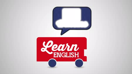 english class : school bus with british flag learn english , hd video animation
