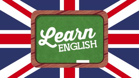 english class : chalkboard and british flag learn english , hd video animation