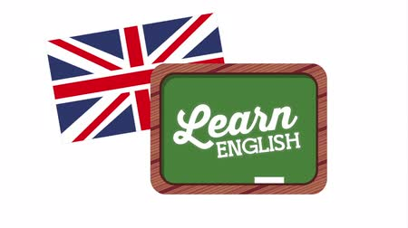english class : chalkboard and British flag learn english, hd video animation