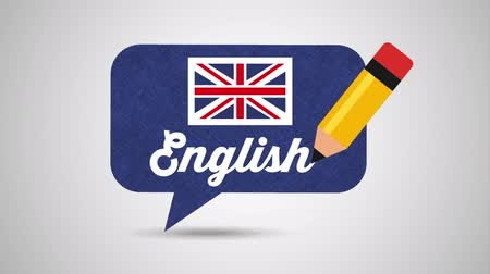 english class : speech bubble with british flag learn english , hd video animation Stock Footage