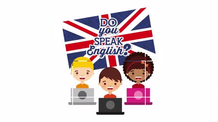 english class : students with laptops and british flag learn english , hd video animation