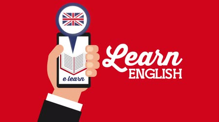 english class : hand with smartphone and british flag learn english , hd video animation