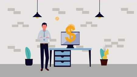 houseplant : businessman with computer and money symbol character , 4k video animation Stock Footage
