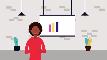 tableau papier : afro businesswoman with paperboard and statistics character ,4k video animation