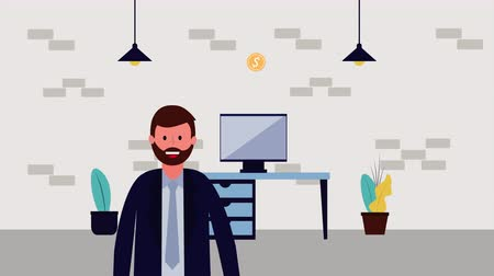 houseplant : businessman with computer in the office avatar character , 4k video animation