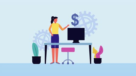 позы : businesswoman in the office with money symbol character ,4k video animation