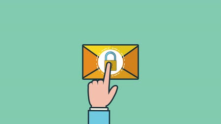 tebliğ : envelope mail send social media ,4k video animation Stok Video