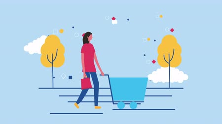 add to cart : woman with shopping cart commercial ,4k video animation