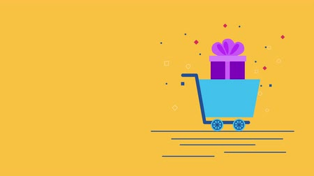 add to cart : shopping cart with giftbox commercial Stock Footage