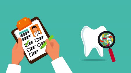 identifikace : doctors hands with order medical dental ,hd video animation