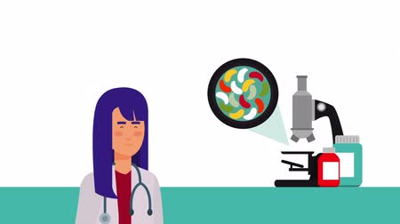 personal medico : Doctora profesional personaje médico, video de animación hd Archivo de Video