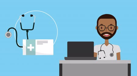 telemedicine : professional doctor medical character ,4k video animation