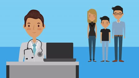 telemedicine : professional doctor with patients medical characters ,4k video animation